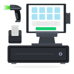 computador em cima de uma gaveta de dinheiro, impressora e leitor de codigo de barras - como emitir uma nfce