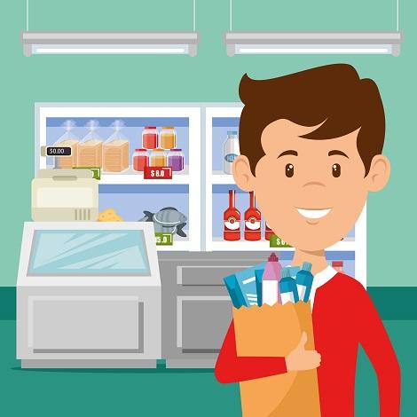 homem com sacola de compras na mão
