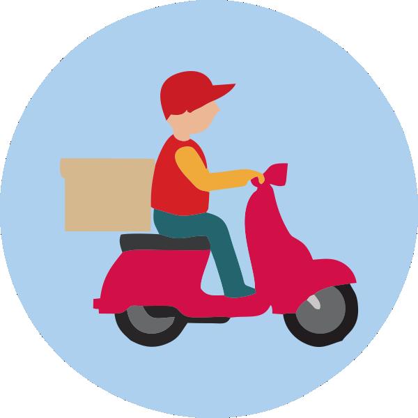 motoboy com moto vermelha