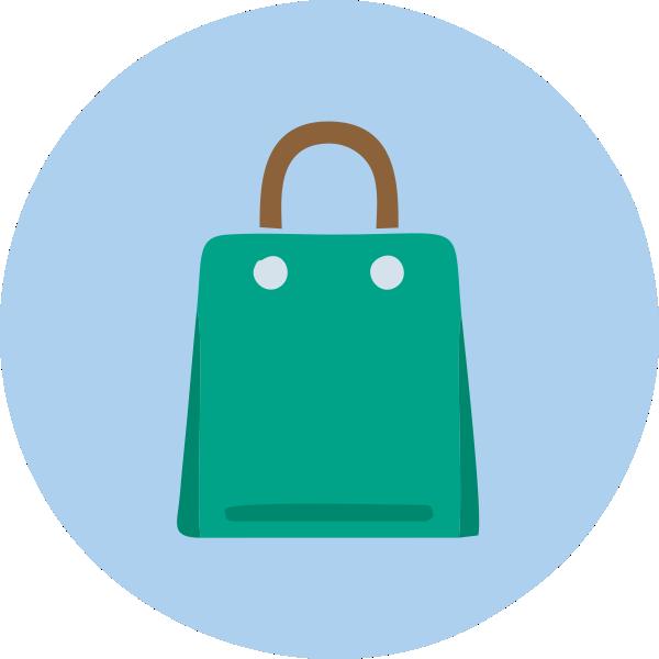 sacola verde alça marrom
